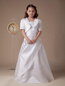 Vestido de niña de flores blanco de satén de línea A hasta el suelo