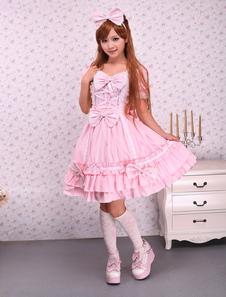 Lotila-de-rosa doce OP vestido e capa com laços e babados