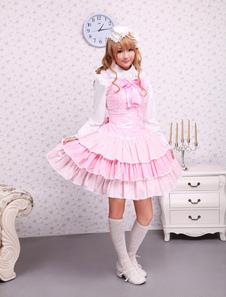Pichi de lolita rosa estilo dulce de algodón con tirantes con volante fruncido
