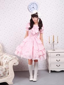 Doce rosa kawaiii Lolita OP vestido mangas curtas babados design