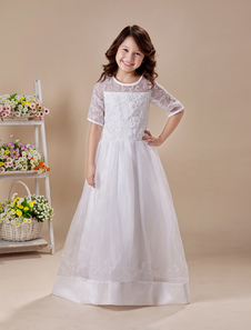 A-line White Embroidered Floor-Length First Communion Dresses