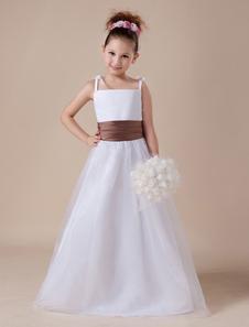 أبيض زهرة فتاة اللباس الأشرطة شاح تول فستان الساتان
