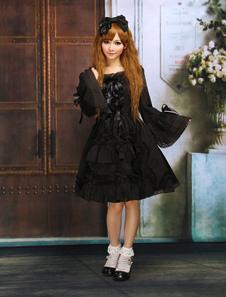 Traje negro de lolita de algodón con escote cuadrado de estilo dulce