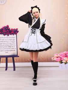 Negro Algodón Lolita OP Vestido y Blanco Delantal Largas Mangas con Encaje