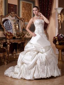 Свадебное платье из атласа классическое молния с церемониальным шлейфом бальное