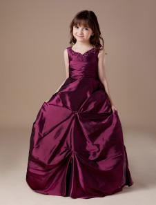 Vestido de niña para boda 2020 de Floristas Vestido de bola de tafetán Borgoña acanalado Rebordear Vestido del desfile de niñas V Cuello alto Vestido de primera comunión