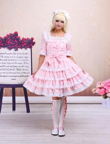 Dolce Lolita Rosa OP vestito mezzo maniche con pizzo Trim
