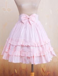 Falda para Lolita rosa de algodón con volante fruncido estilo clásico