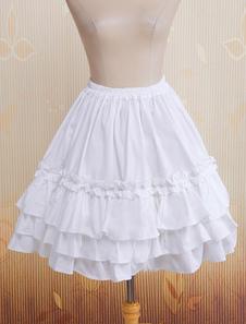 Saia Branca Lolita multi-camada de rendas de algodão