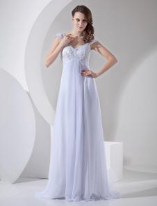 Vestido de novia barato ajustado con cuello en V hombro caído Cremallera con cuentas
