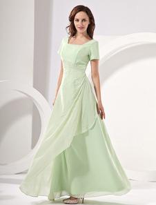 Vestido para la madre de los novios Verde rosa con escote cuadrado con manga corta con lentejuela de línea A hasta el suelo Vestidos de boda para huéspedes