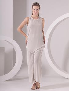 Vestido para la madre de la novia de chifón gris pardo con escote redondo