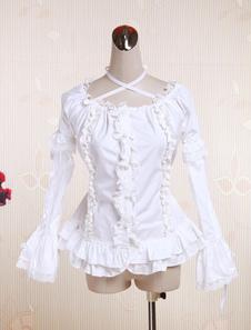 Белый хлопок Лолита блузку длинные Hime рукава шеи ремни кружевной отделкой рюшами