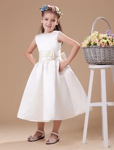 Vestido de damitas blanco de satén de línea A con escote redondo hasta la pantorrilla