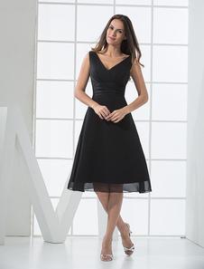 Vestido de Cocktail cetim Chiffon preto com decote em v profundo Vestidos de Convidados para Casamento