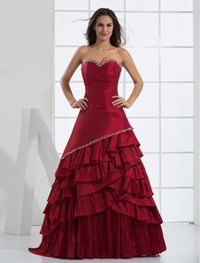 Сказочные бордовый без бретелек Милая многослойных рука сделал вышивка бисером Платье вечернее из тафты