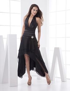 Vestido preto com decote em v profundo assimétrico Vestidos de Convidados para Casamento