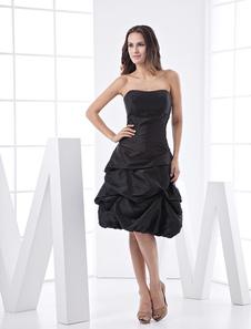 Черное платье коктейль с Ruched тафты платье без бретелек с открытой спиной