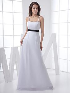 Vestido de damas de honor blanco de satén y de gasa de línea A con tirantes spaghetti hasta el suelo