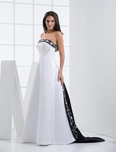 Vestidos Blanco Y Negro De Novia Encaje Bordado Sin Tirantes Vestido De Novia Con Train