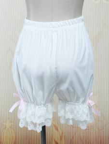 Pantalones de Lolita 2020  Dulce Blanco Algodón Bombachos Encaje Trim Rosa Lazo Cintas
