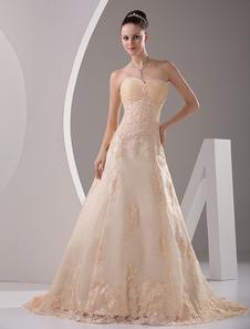 Vestido de noiva champanhe tomara-que-caia linha-A em cetim com cauda e aplique
