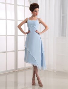 Платье для свидетельницы A-силуэт на бретельках ниже колен из эластичного атласа