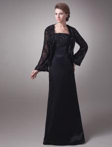 Прохладный черный глянец кружево линии слово длины мать невесты платье