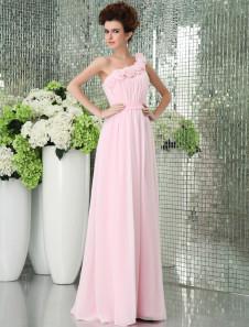 Rosa um ombro Chiffon andar comprimento Womens Bridesmaid Dress