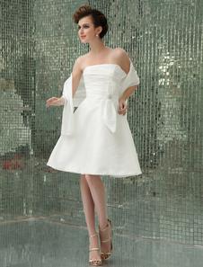 Свадебное платье Тафта модное для приема без бретелек