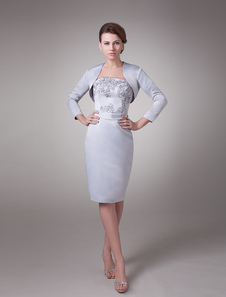الأم من فستان العروس قطعتين الزفاف فساتين ضيوف مطرز الفضة الساتان قصيرة فستان زفاف الحزب