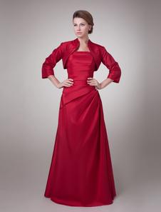 Бордовый с длинным рукавом тафта этаж Длина матери невесты платье с жакетом