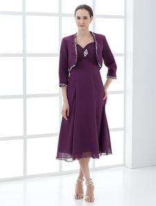 Виноград A-line милая шеи плиссированные платья империи талии для новобрачных мать с рубашкой
