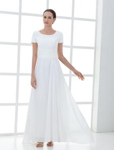 結婚式 母親ドレス Aライン ミセスドレス フォーマル ホワイト ウェディングパーティードレス ラウンドネック 半袖 お呼ばれ 謝恩会 成人式 二次会 シフォン 格安オケージョンドレス アシンメトリー ファスナー アップリケ ウェディング