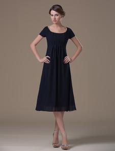 Dark Blue A linha Praça Neck Chiffon Comprimento do vestido da dama de honra Chá Maternidade
