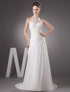 Vestido de novia de chifón con escote halter y aplicación de cola barrida