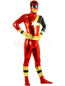 Блестящий металлический Красный и Черный Супер Герой мужской костюм Зентаи Хэллоуин