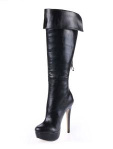 أسود سبايك كعب زيبر بو الجلود المرأة في الركبة طول الأحذية