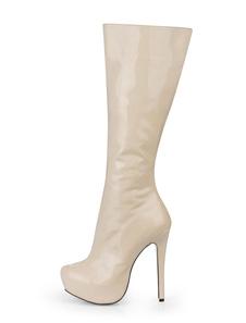 ロングブーツ アーモンドトゥ レディースブーツ ピンヒール アイボリー パテントレザー シューズ 14cm ジッパー パテントレザー レイブ・クラブ 3cm レディース靴