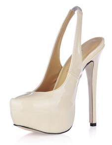 Scarpe slingback color color bianco traffico formali con tallone aperto con tacco da 14cm