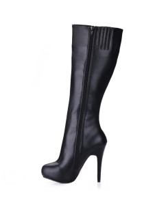 ロングブーツ ラウンドトゥ レディースブーツ ピンヒール ブラック  PU シューズ 11cm ジッパー 1cm レディース靴