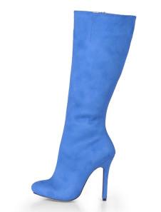 Botas hasta la rodilla con pala de satén elástico de puntera de forma de almendra Azul celeste claro 12cm de tacón de stiletto con cremallera