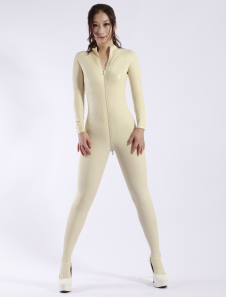 Moda Latex Catsuit Zipper branco feminino Halloween