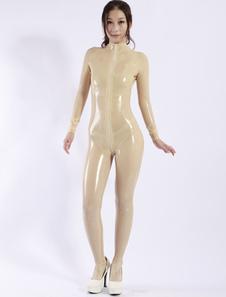 Latex Catsuit um pedaço zíper feminino Halloween