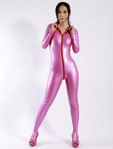 Moldar o macacão de látex rosa zíper feminino Halloween