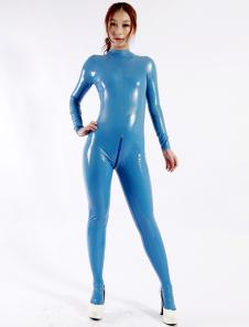 Modelagem Latex Catsuit Sexy azul feminino Halloween