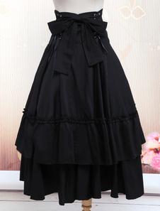 القوطية لوليتا اللباس SK الأسود الدانتيل يصل كشكش المتدرج تنورة القطن لوليتا
