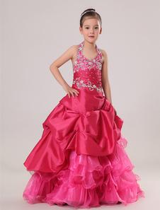 Vestido formal para niñas de tafetán de color fucsia con escote Halter