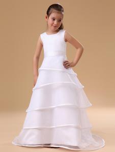 Vestido Da Menina De Flor 2020 Branco A Line Vestido De Concurso De Crianças Organza Ruffles Em Camadas Sash Até O Chão Primeiro Vestido De Comunhão