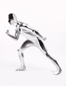 Prata brilhante metálico traje inspirado pelo Surfista Prateado Halloween